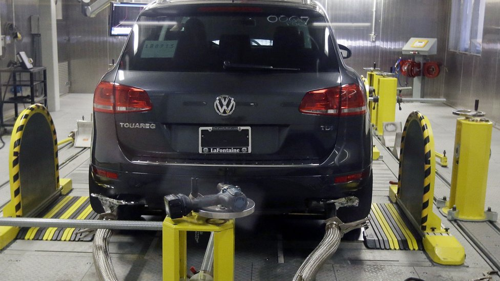 A Volkswagen Touareg diesel is tested