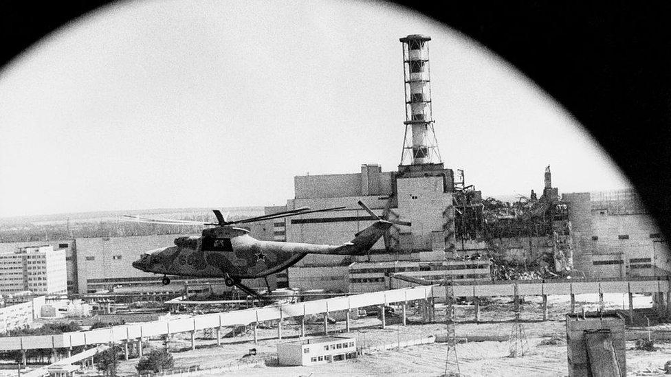 Imagen de Chernobyl desde un helicóptero en 1990