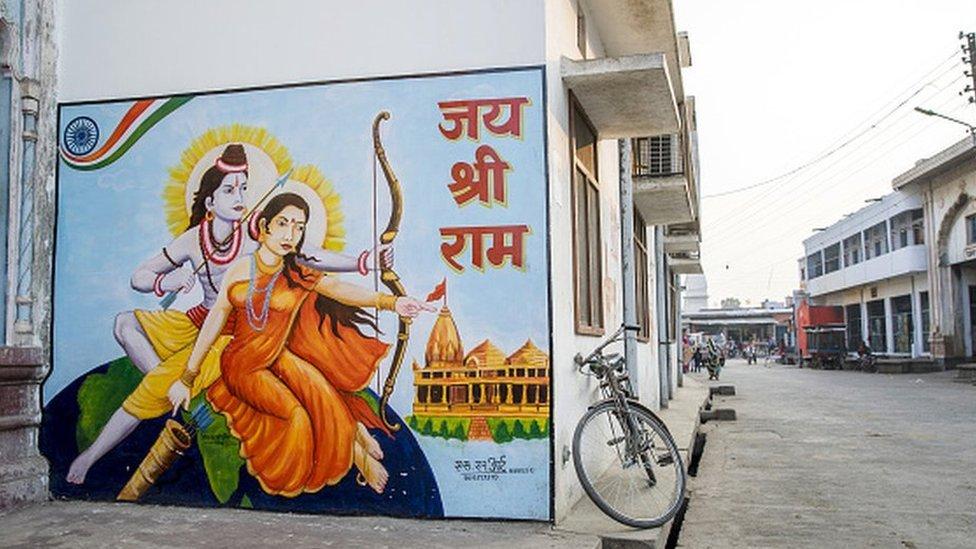A mural depicting Hindu gods Rama, left, and Sita is displayed on a wall in Ayodhya, Uttar Pradesh, India, on Friday, Jan. 18, 2019.