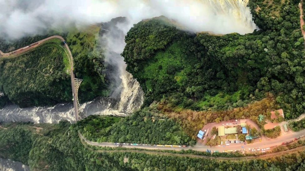 Drone image of the Victoria Falls