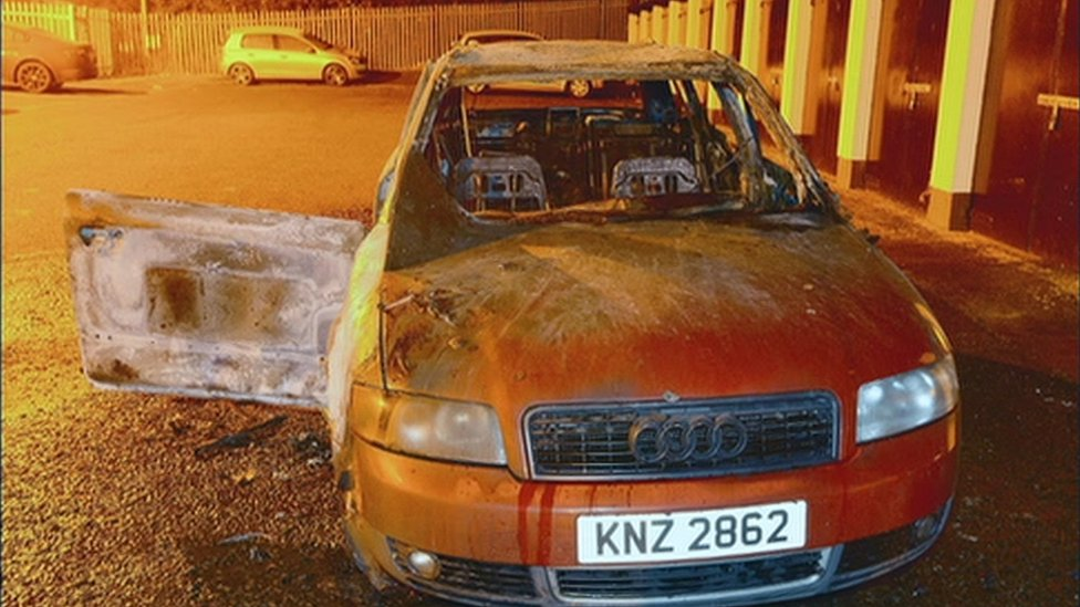 Burned out Audi car