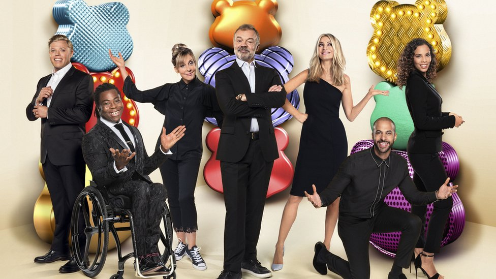 Rob Beckett, Ade Adepitan, Mel Giedroyc, Graham Norton, Tess Daly and Marvin and Rochelle Humes
