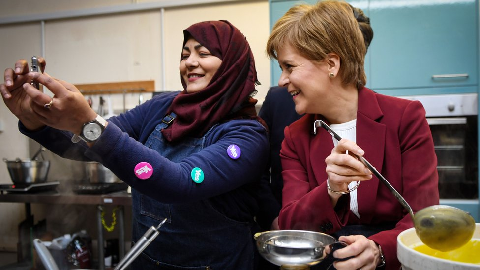 SNP leader Nicola Sturgeon at a campaign stop in Stirling (19 Nov)