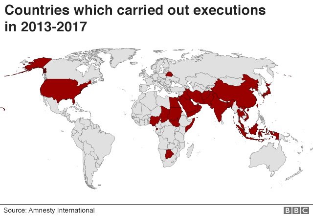 Map showing which countries carried out executions in 2013-2017