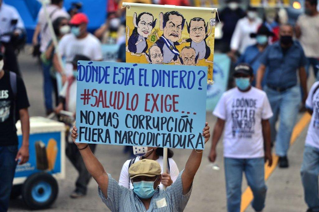 Una protesta en Tegucigalpa.
