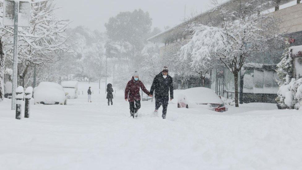 Madrid durante la tormenta de frío Filomena en enero de 2021.