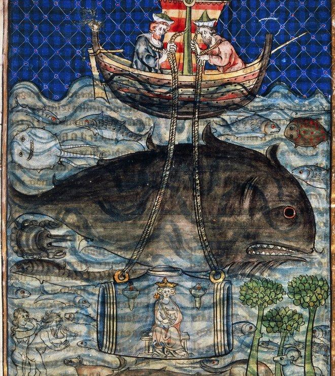 Ilustración medieval de Alejandro Magno sumergido en un barril de vidrio.