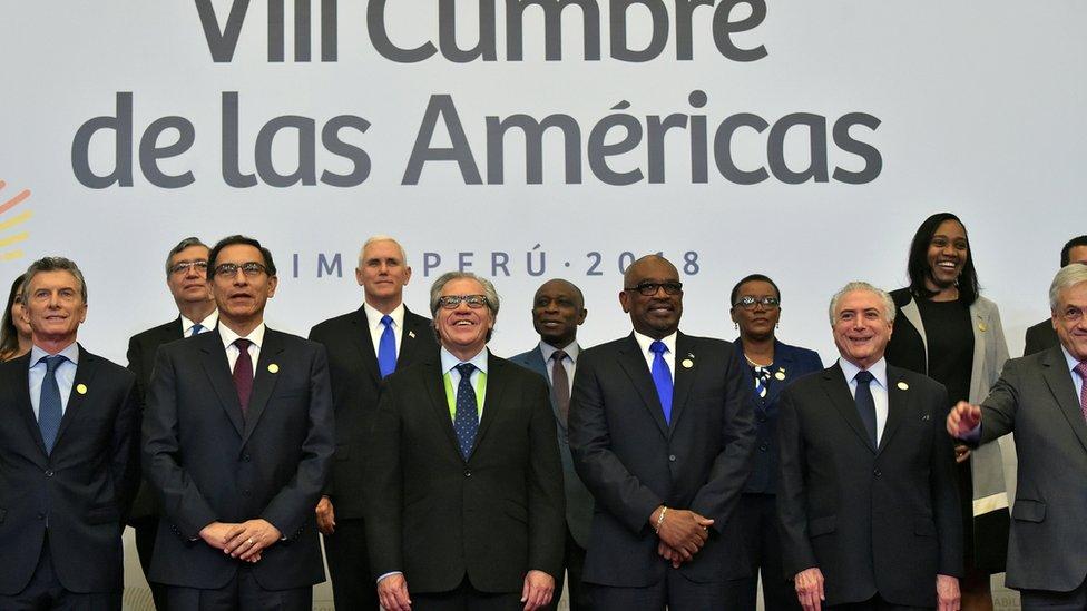 Asistentes a la VIII Cumbre de las Américas en Lima.