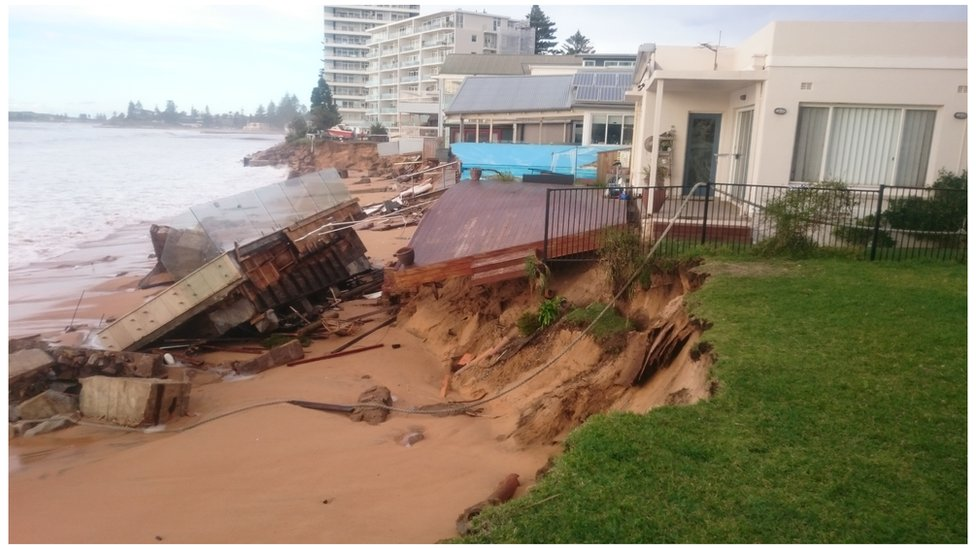View of collapsed swimming pool on Collaroy Beach