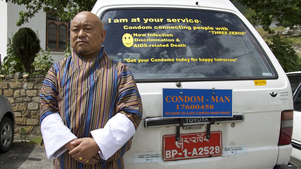 The condom man's famous van - he will deliver condoms at any time of the night