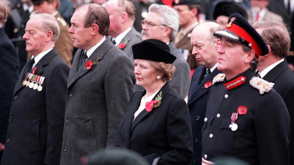 A special commemoration service at the cenotaph attended by then Prime Minister Margaret Thatcher