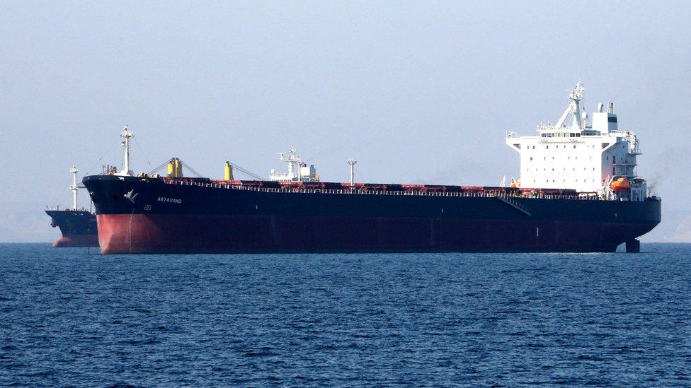 An oil tanker off the Iranian port of Bandar Abbas on 30 April 2019