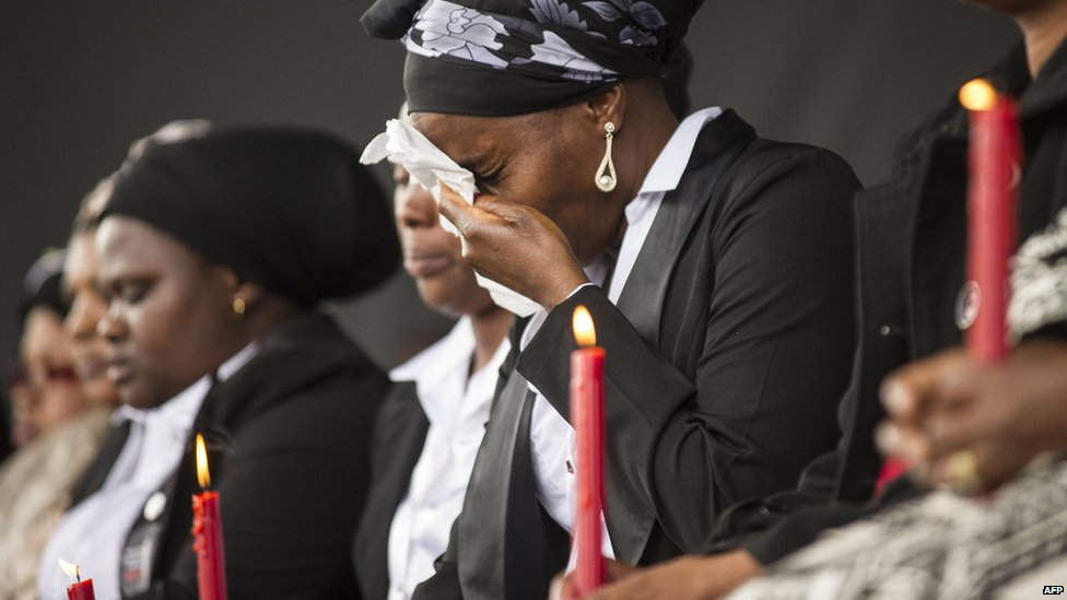 Widows of killed workers at a service in Marikana