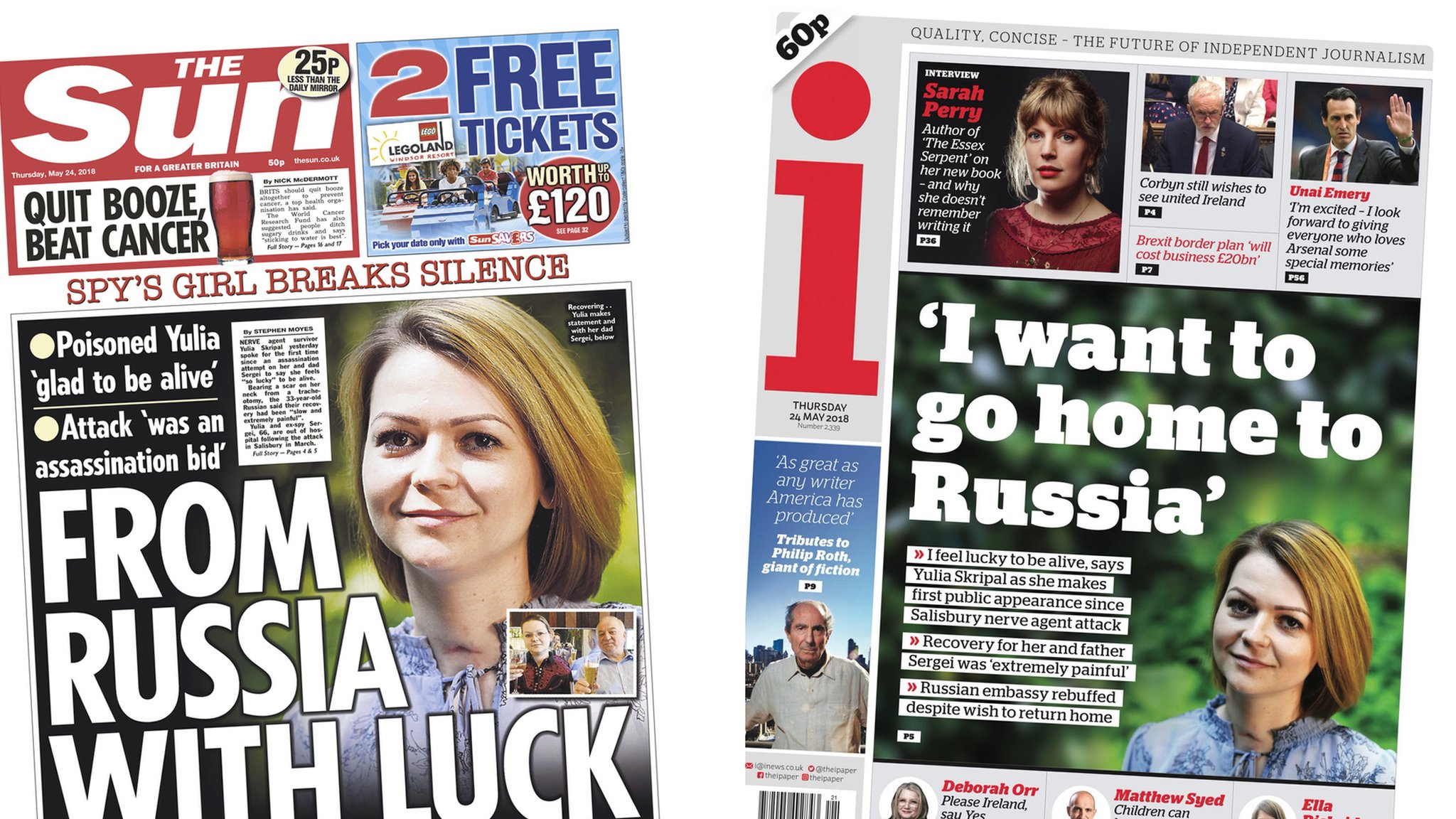The Papers: Poisoned Yulia speaks for the first time