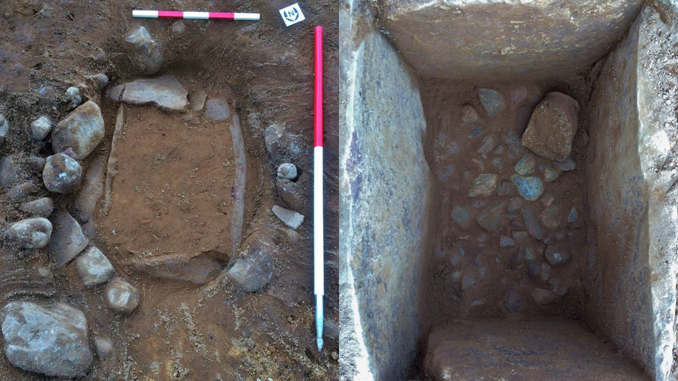 The second cist before and after soil was removed from it