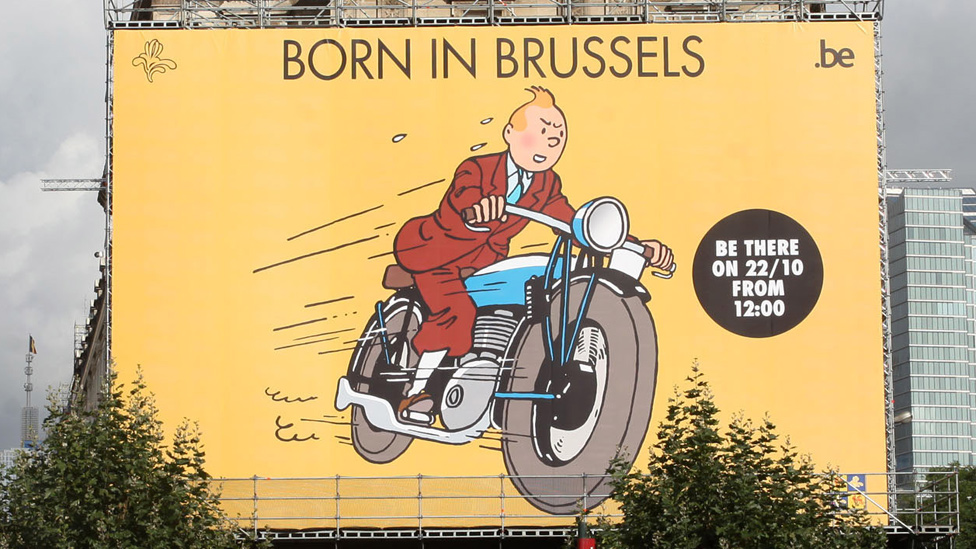 Giant Tintin poster in Brussels, 2011