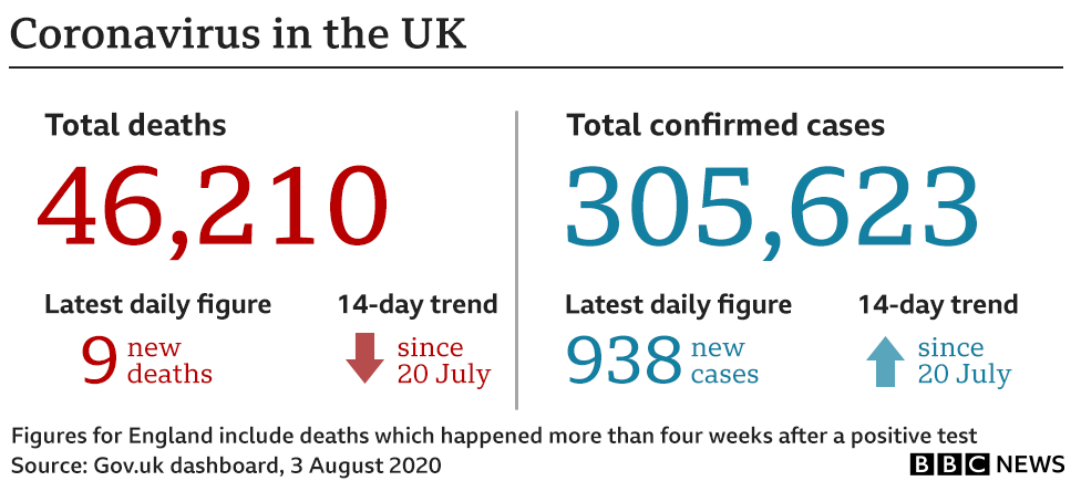 Summary of impact of coronavirus on the UK as of 3 August, including 46,210 confirmed deaths and 305,623 confirmed cases