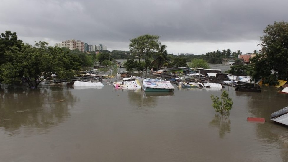 Huts and shanties are submerged in flood waters in Chennai, India, 02 December 2015