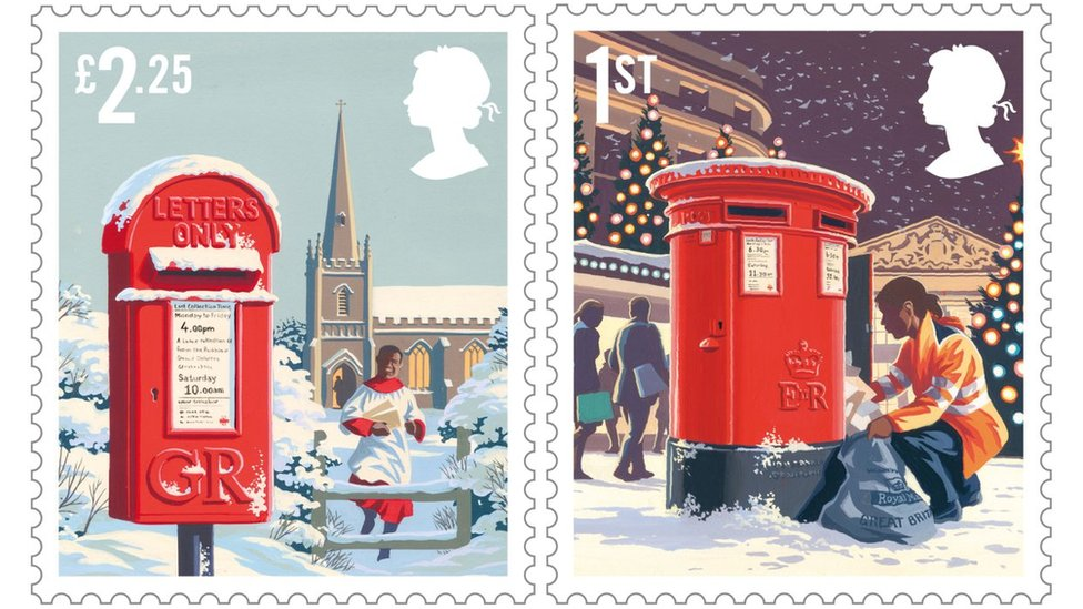 Royal Mail Christmas stamps have red postbox theme