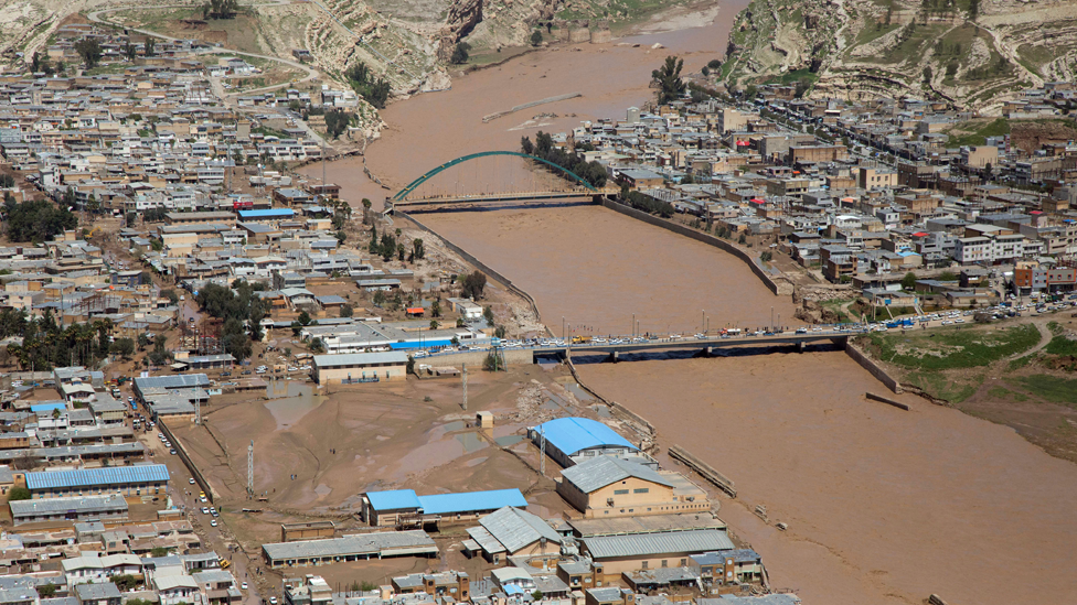 Overhead view of flooding in Poldokhtar, Lorestan Province, Iran