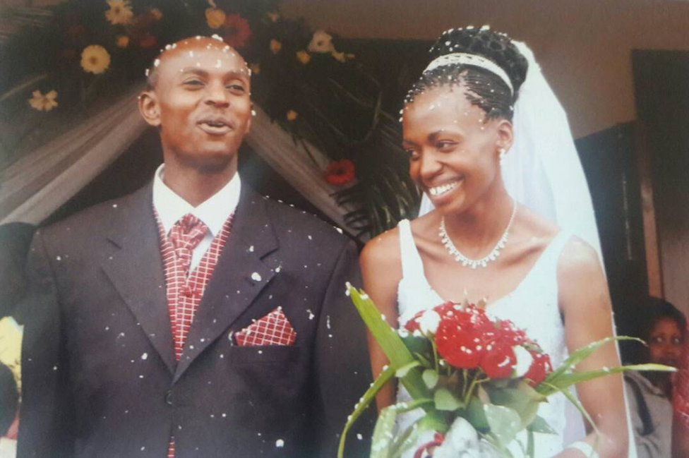 Harry Olwande and Terry on their wedding day in July 2005