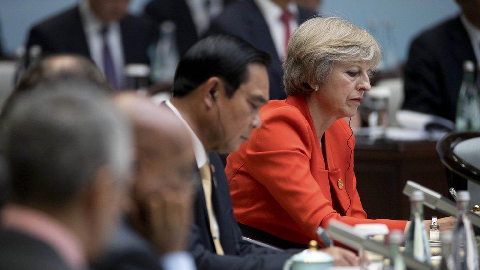 Theresa May at the G20 in Hangzhou, China.