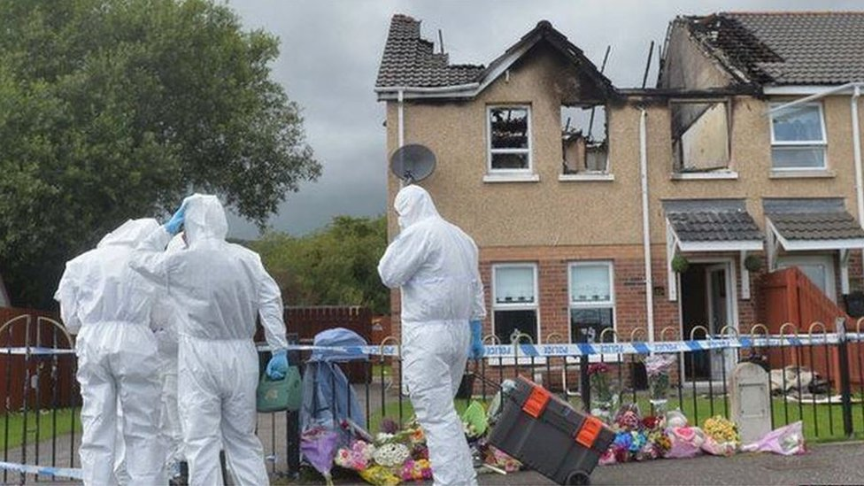 Forensic officers at Dornan house