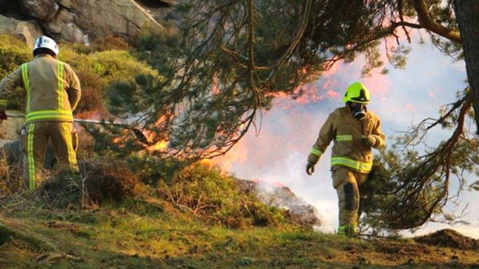 Ilkley Moor fire: Three arrests over blaze