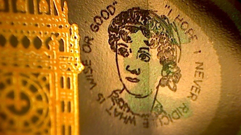 Graham Short engraved a 5mm portrait of author Jane Austen on the new plastic £5 notes