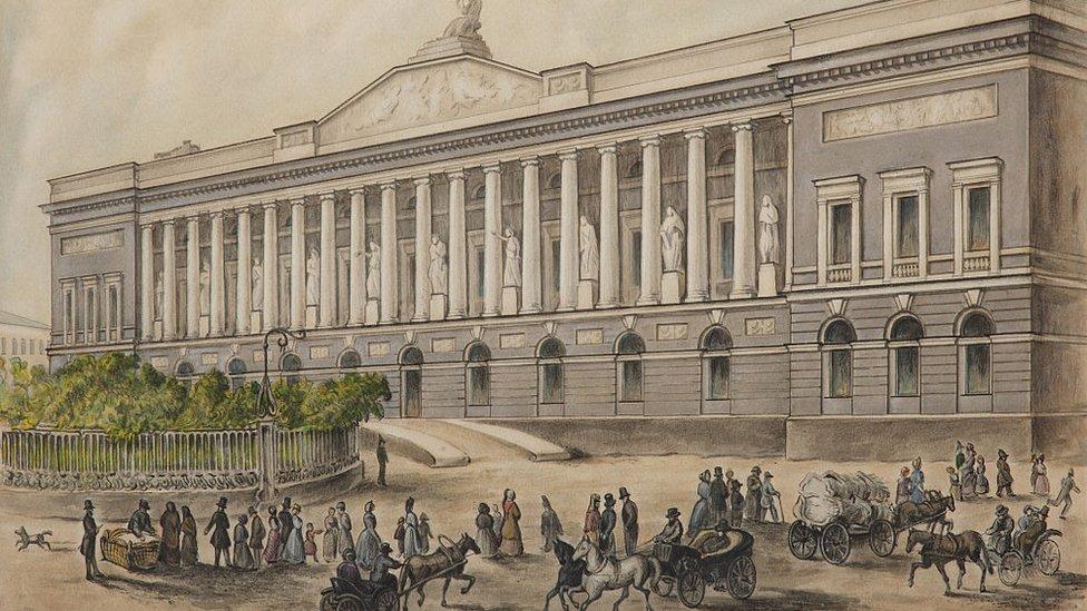 Biblioteca Pública Imperial en San Petersburgo, Rusia, en 1840.