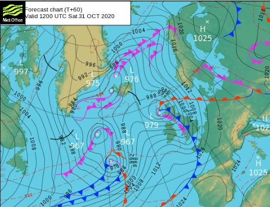 Winds will strengthen again at the weekend with gusts of 50 to 60mph
