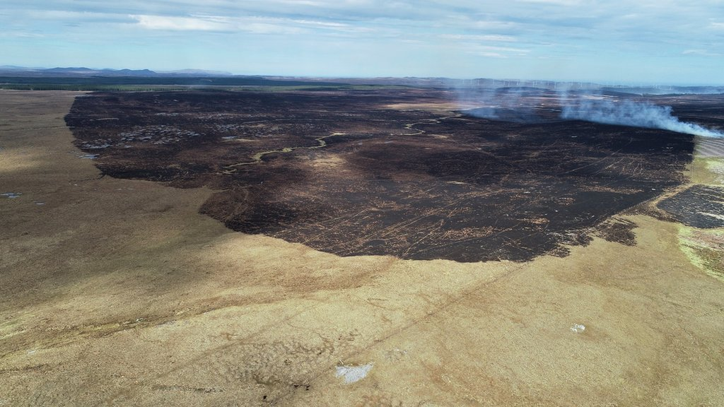 Aerial image shows scale of days-long wildfire in Sutherland