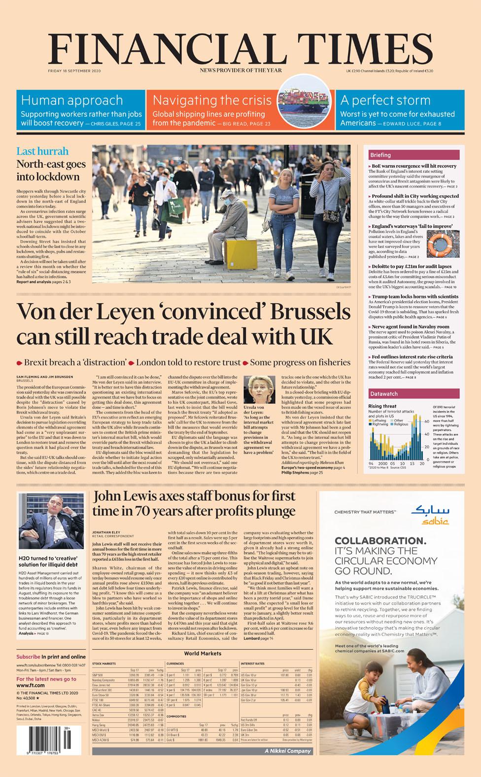 Financial Times Fri 18 September