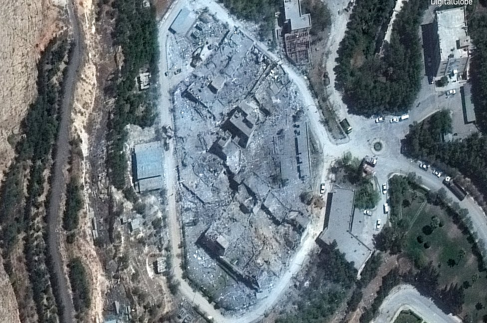 Aerial view of the Barzah site after attack