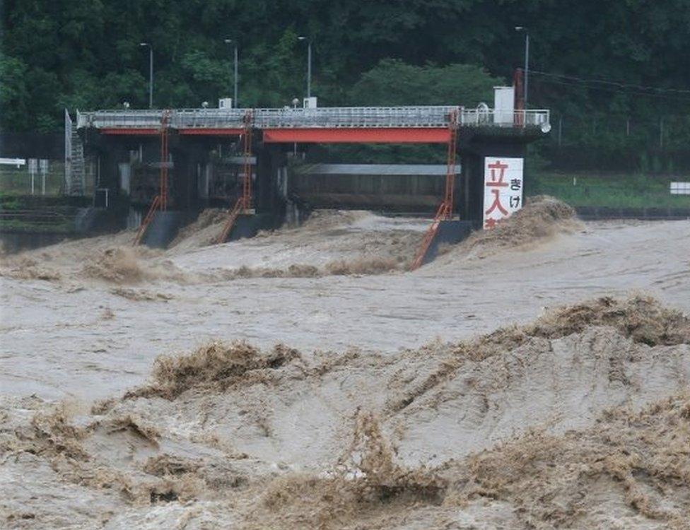 Flooding in Yatsushiro in Kumamoto prefecture