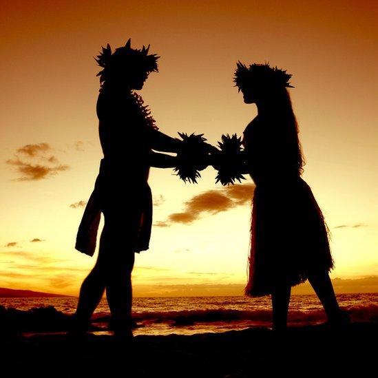 Hawaiian couple at sunset