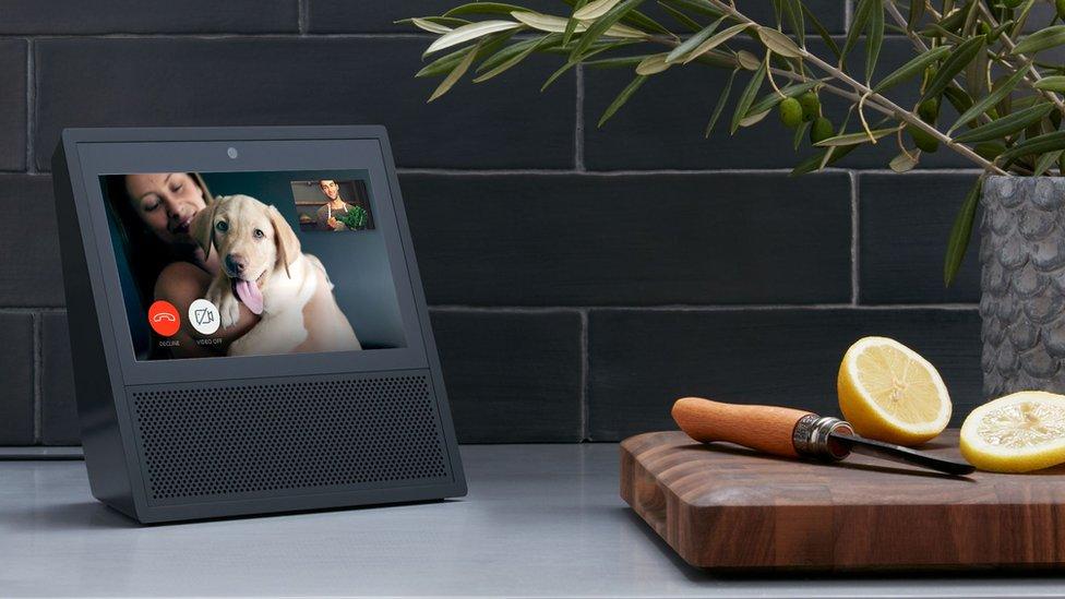 Amazon Echo Show device on a kitchen worktop