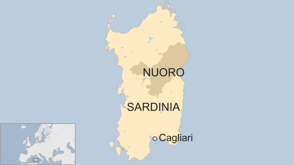 A map shows the Italian island of Sardinia in the Mediterranean-nc