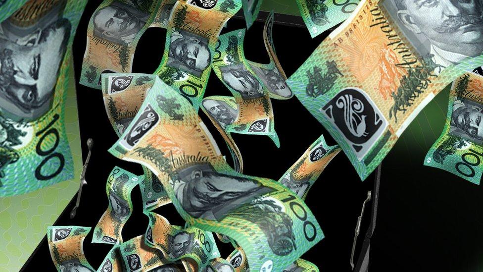 Suitcase of Australian dollars