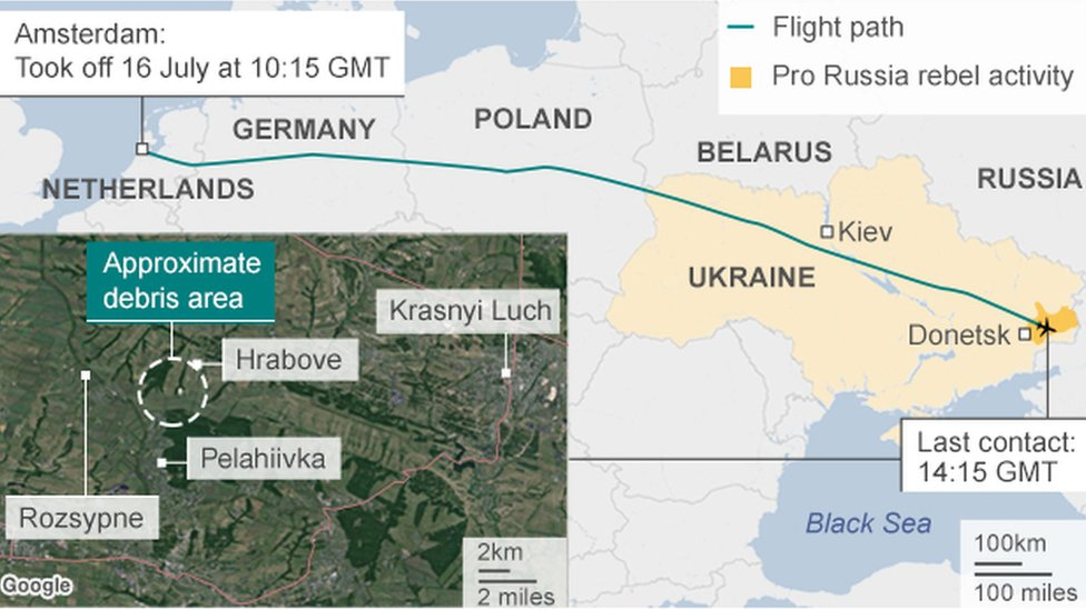 Peta jatuhnya MH17