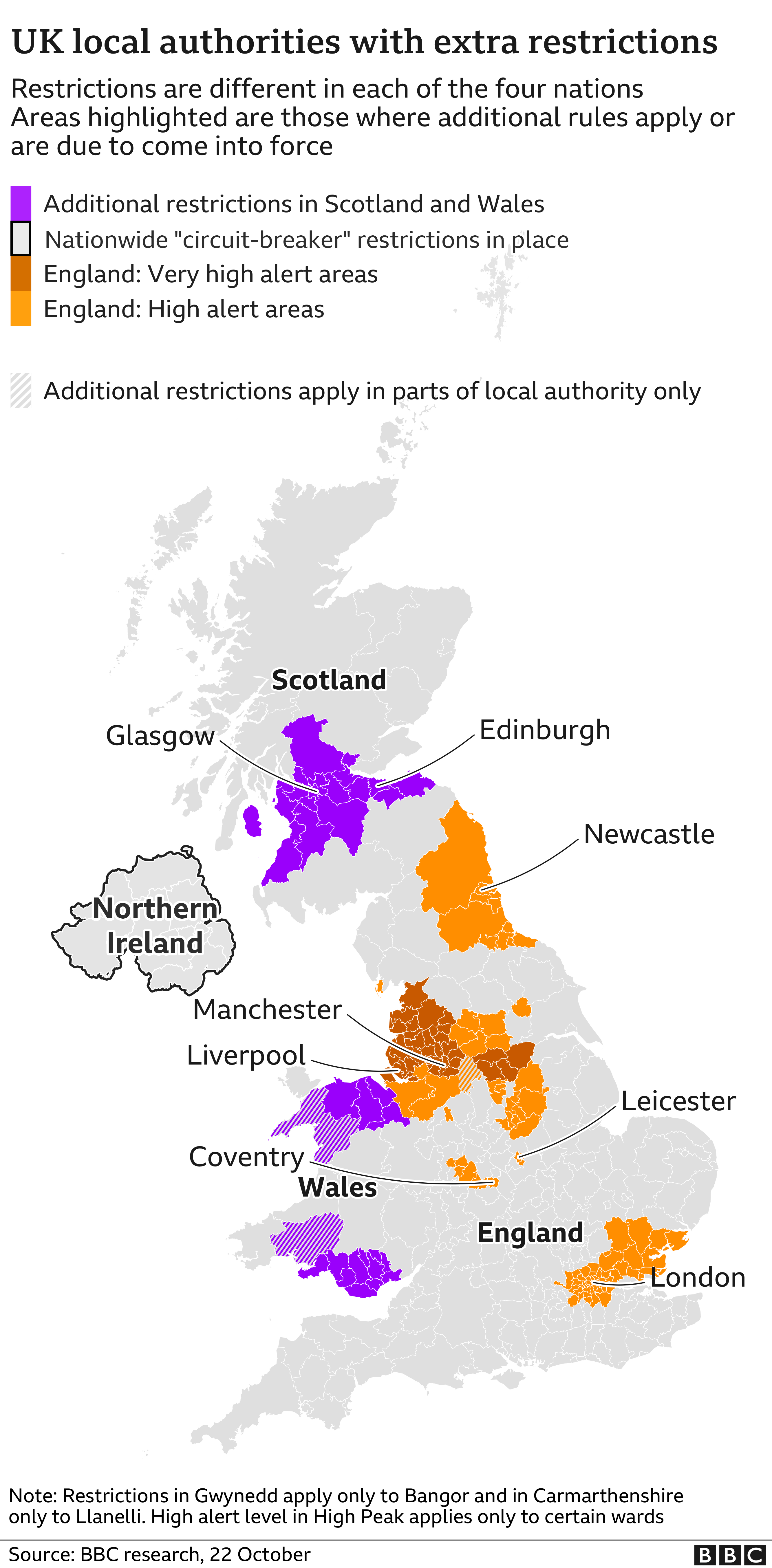 Map of UK shows where extra restrictions have been imposed/due to come into force
