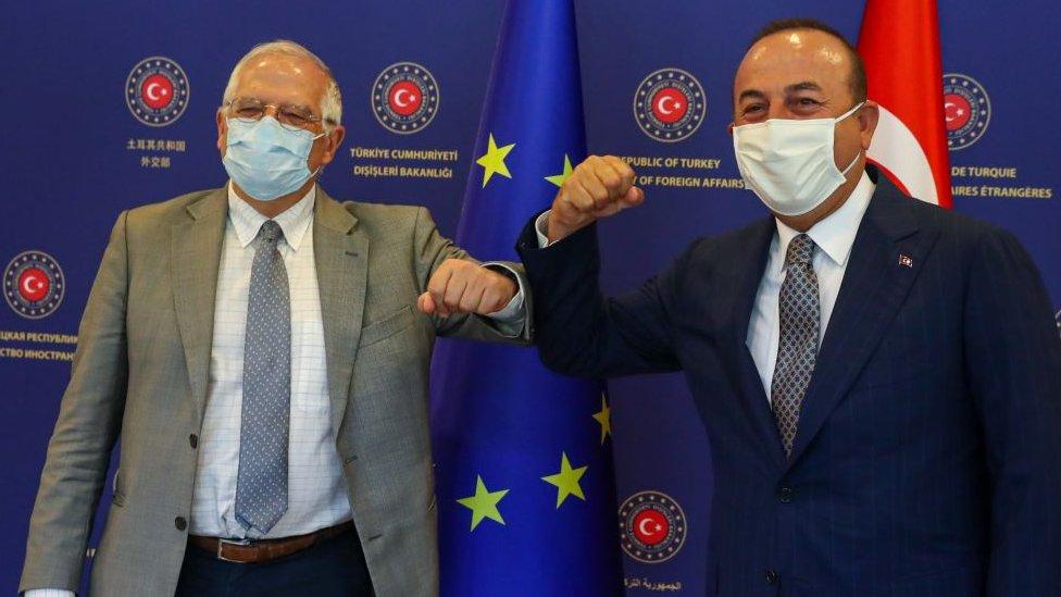 AB Dış Politika ve Güvenlik Yüksek Temsilcisi Josep Borrell ve Dışişleri Bakanı Mevlüt Çavuşoğlu, 6 Temmuz 2020, Ankara