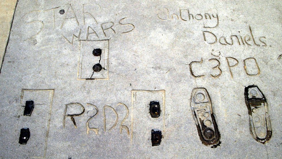 Footprints of R2-D2 and C-3PO outside Graumann's Chinese Theatre in Hollywood