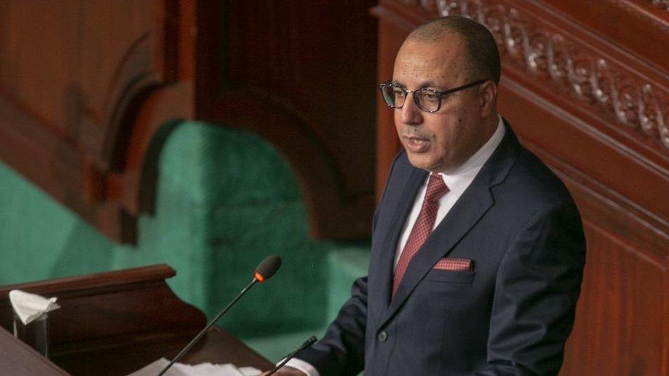 رئيس الوزراء التونسي هشام المشيشي خلال جلسة الثقة في البرلمان التونسي، 1 سبتمبر/أيلول 2020
