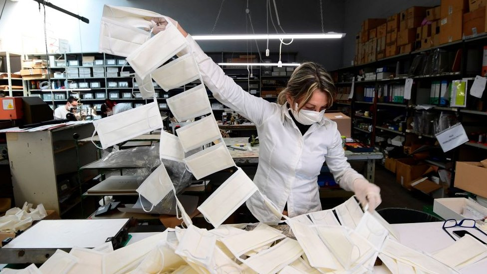 意大利一家口罩工廠
