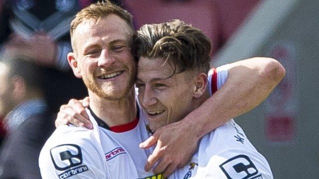 Inverness players Gary Warren and Josh Meekings