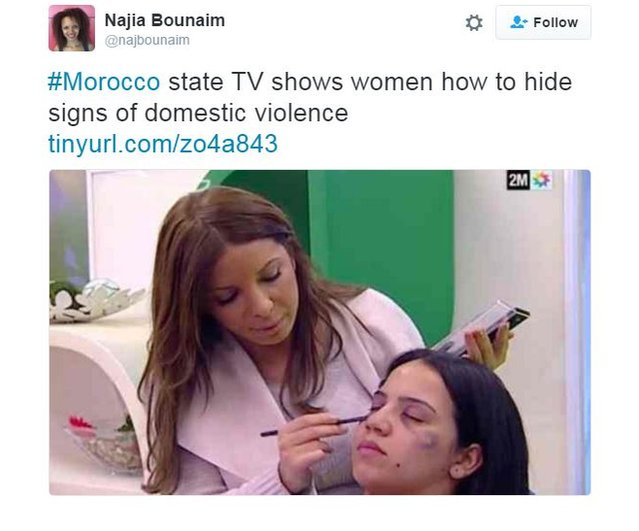 Najia Bounaim of Amnesty International tweeted a still image of from the broadcast on Moroccan TV of a make-up artist covering signs of domestic violence