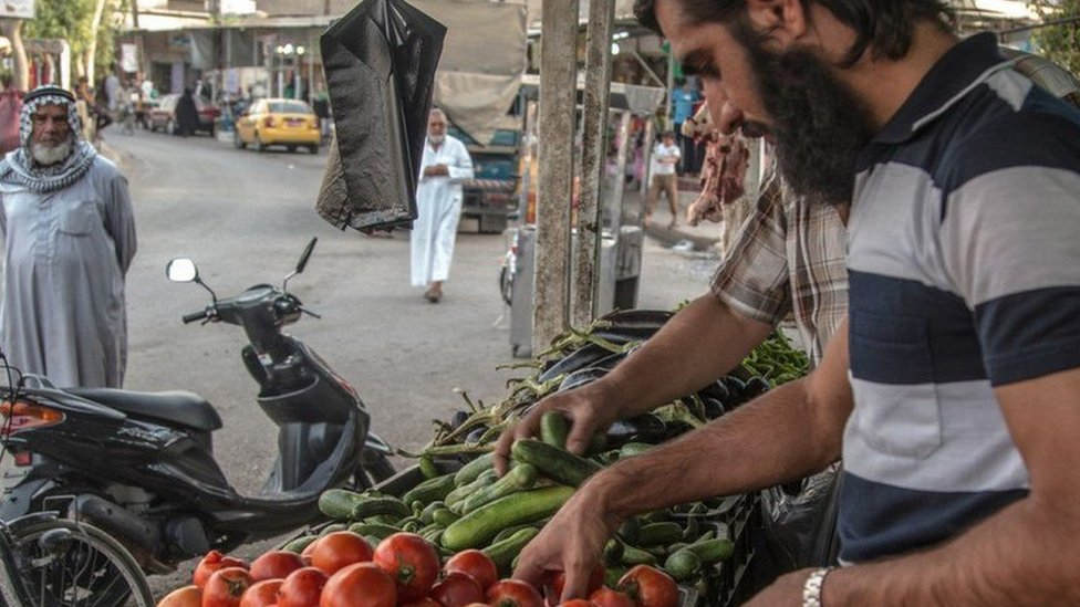 An IS media scene of Sumer market in south-eastern Mosul