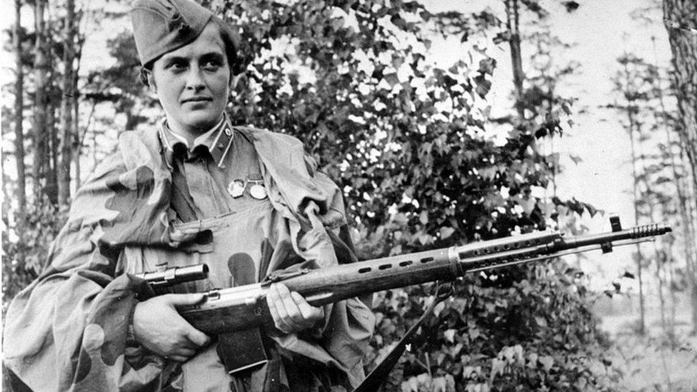 Soviet sniper Lyudmila Pavlichenko during World War Two