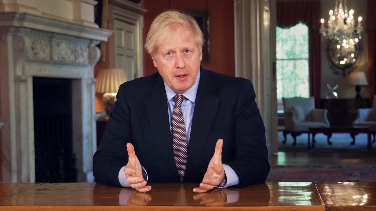 Boris Johnson during a TV address